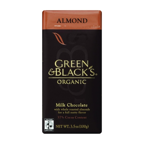 Green and Blacks Organic Chocolate Bars - Milk Chocolate - 37 Percent Cacao - Almond - 3.5 oz Bars - Case of 10