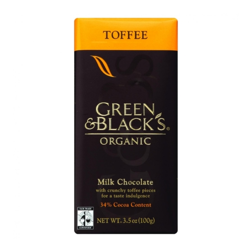 Green and Blacks Organic Chocolate Bars - Milk Chocolate - 34 Percent Cacao - Toffee - 3.5 oz Bars - Case of 10