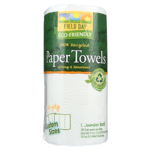 Field Day Paper Towel - 100 Percent Recycled - Custom Size - 120 sheets each - 1 roll - case of 24