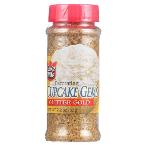 Cake Mate Cake Decor - Cupcake Gems - Sugar - Glitter Gold - 2.2 oz - case of 6