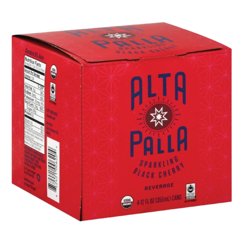 Alta Palla Organic Sparking Fruit Juice - Black Cherry - Case of 6 - 12 fl oz.