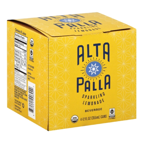 Alta Palla Organic Sparking Fruit Juice - Lemonade - Case of 6 - 12 fl oz.